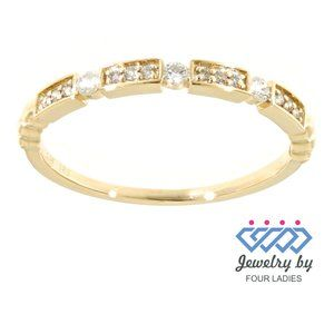 Solid Diamond Anniversary Band For Her Yellow Gold